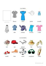 Clothing And Accessories Chart Illustrated English Esl