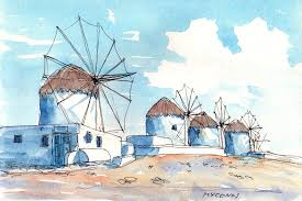 mykonos wind mills greece art print from an original watercolor painting