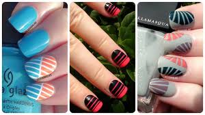 Striping Tape Nail Art - 3 Easy Designs | Nail Art For Beginners ...