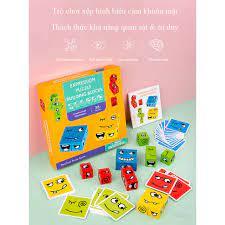 Khối gỗ xếp hình biểu cảm gương mặt, rèn luyện tư duy logic cho bé, trò  chơi tương tác giữa cha mẹ và con cái tốt giá rẻ