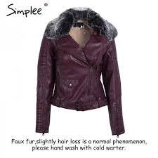 fashion fur collar basic jacket coat outerwear coats streetwear black faux leather coat female pu leather jacket women