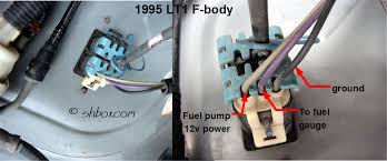 4th gen lt1 f body tech articles a meter set to ohms resistance between the black and purple wires going to the tank