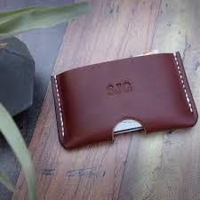 personalised slim leather card holder
