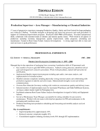 Production Supervisor Resume Example