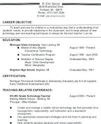 Early Childhood Education Resume Objective Samples For Objectives