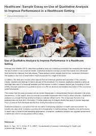 premiumessays net healthcare sample essay on use of qualitative analy healthcare sample essay on use of qualitative analysis to improve performance in a healthcare setting