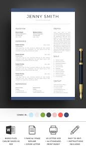Resume Template Word Professional 1 Page Resume 2 Page Resume Modern Clean Creative Resume Cv Template Cover Letter Instant Download