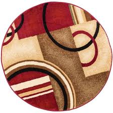 wellsuited 3 round rug well woven barclay arcs and shapes red 5 ft in modern