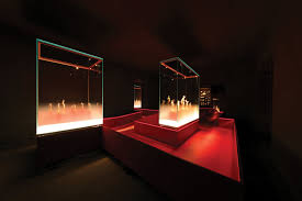 lighting design images. the redcolored walking surface through exhibition is illuminated by a concealed led light lighting design images