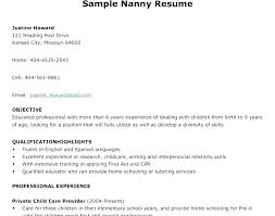 Resume Nanny Sample Nanny Resume Examples Sample Of Nanny Resume