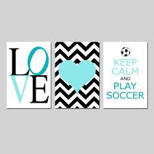 Aqua and white soccer wall art for girls bedroom Decor