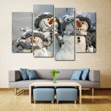 snowmen print canvas unframed split paintings grey white 30 60cm 2pcs