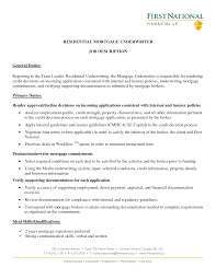 Excellent And Effective Sample Resumes Mortgage Underwriter Vinodomia