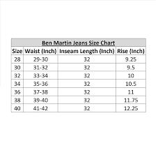 Jeans Size Chart Ben Martin Mens Regular Fit Denim Joggar Jeans
