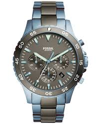 fossil men s chronograph crewmaster two tone stainless steel fossil men s chronograph crewmaster two tone stainless steel bracelet watch 46mm ch3097