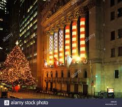 tree lights stock exchange building financial district manhattan new york city usa