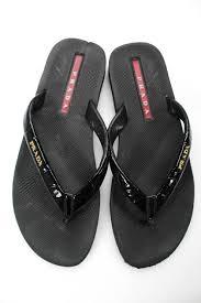 prada sport womens patent leather flip flop sandals black size 40 10 2 2 of 7