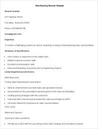 Sample Manufacturing Resume Template