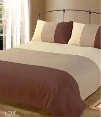 double bed duvet quilt cover bedding set lexie chocolate brown plain 3 tone co uk kitchen home