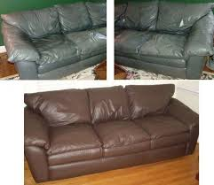 leather sofa re dyed red restuffed re newed
