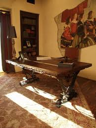 custom spanish style furniture. custom desk the forged iron legs support a reclaimed mesquite wood top with hand spanish style furniture u