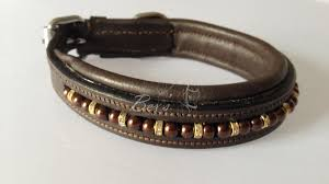 beaded dog collar chocolate brown pearls with gold straight rhinestone spacers