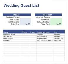 13 Guest List Templates Wedding Party Events Word Excel