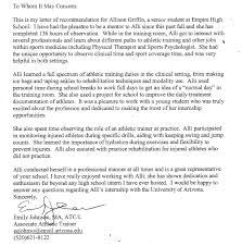 letter of recommendation for athletic training program letter of recommendation senior exit project 2012