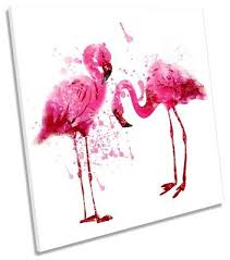 pink flamingos picture canvas wall art