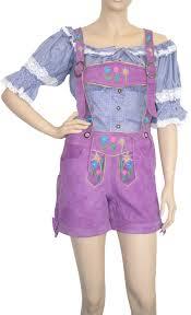 las short bavarian leather pants goat suede colour purple
