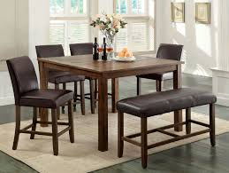 counter height rustic dining room set with bench wood is dark oak finish constructed