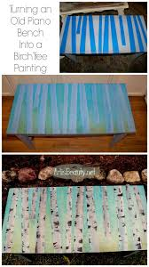 birch trees painted piano bench