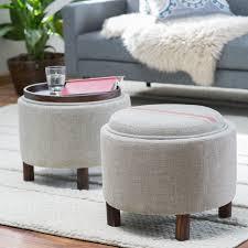 belham living ingram round storage ottoman with cocktail tray hayneedle