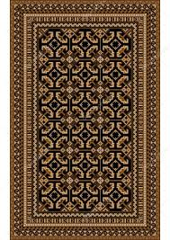 rug with patterned beige and brown shades on a black background stock vector