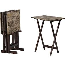 Small Picture Linon Home Decor Products Inc Tray Table Set Brown Faux Marble
