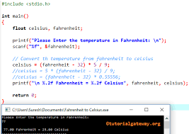 Celsius To Fahrenheit Charts Awesome C Program To Convert Fahrenheit To Celsius