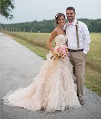 discount champagne country western wedding dress layered oraganza