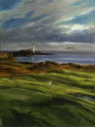 golf art golf course painting golf gift turnberry ailsa golf club scotland