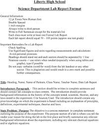 Science Report Format Liberty High School Science Department Lab Report Format Pdf