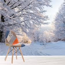 Winter Woods Muurschildering Witte Bomen Bos Fotobehang Slaapkamer