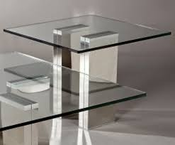 square glass top with stainless steel table legs for home furniture idea