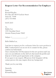 Request Letter For Recommendation For Employer Best Letter