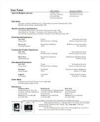 Technical Resume Templates Simple Theatre Technician Resume Template The General Format And Tips For
