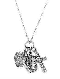 sterling silver cz faith cross heart