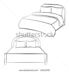 bed drawing. black outline vector bed on white background. drawing