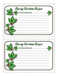 Christmas Recipe Cards Template Christmas Recipe Cards To Print Print The Actual Sheet