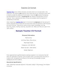 teaching cv format  sample of cv resume for teaching job    teaching cv format