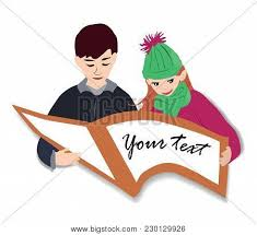 a cheerful boy and a beautiful teach lessons open interesting book and study