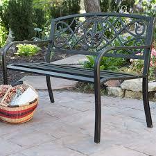 black steel outdoor bench