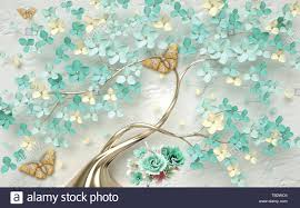 3d wallpaper abstract floral background ...